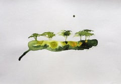 Green Acacia - Gabrielle Pool - Whimsical drawing on paper in ink - Wooden frame