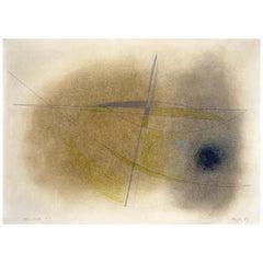 John Wells, Drawing 67/10, Pencil, Crayon, Watercolor, 1967, Newlyn
