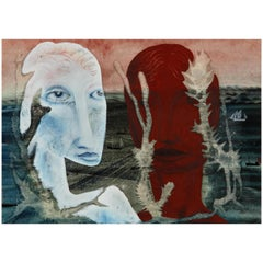 John Tunnnard, Two Heads, Watercolor and Gouache, 1950s, Picture, Surrealism