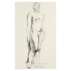 Henry Moore, Standing Nude, Pen, Ink, Charcoal on Paper, Figurative, 1930 Signed