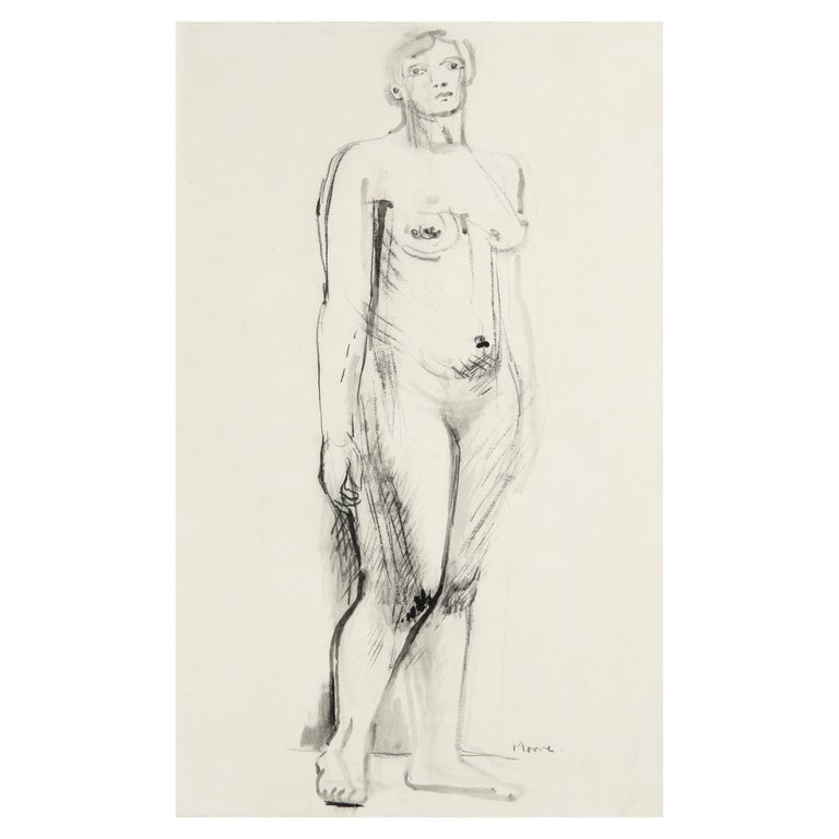 Henry Moore, Standing Nude, Pen, Ink, Charcoal on Paper, Figurative, 1930 Signed - Art by Henry Moore