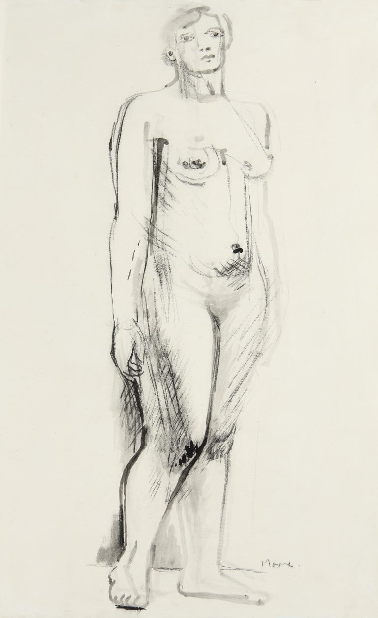 Henry Moore, Standing Nude, Pen, Ink, Charcoal on Paper, Figurative, 1930 Signed For Sale 15