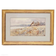 Watercolour Estuary Landscape Victorian