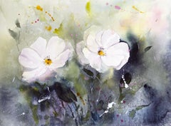 White spring, Painting, Watercolor on Watercolor Paper