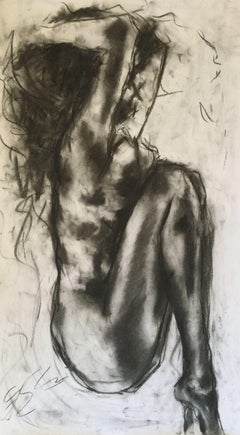 Fall Into My Arms, Drawing, Charcoal on Paper