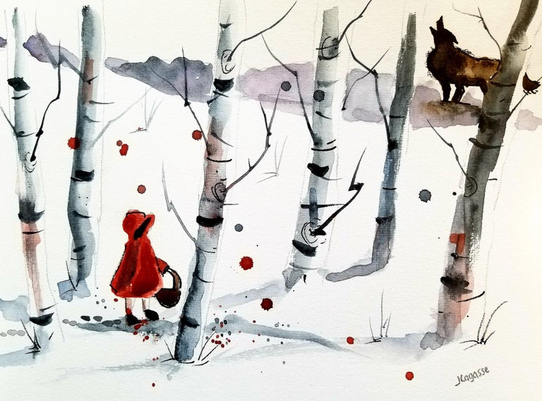 Big Bad Wolf, Painting, Watercolor on Watercolor Paper - Art by Jim Lagasse