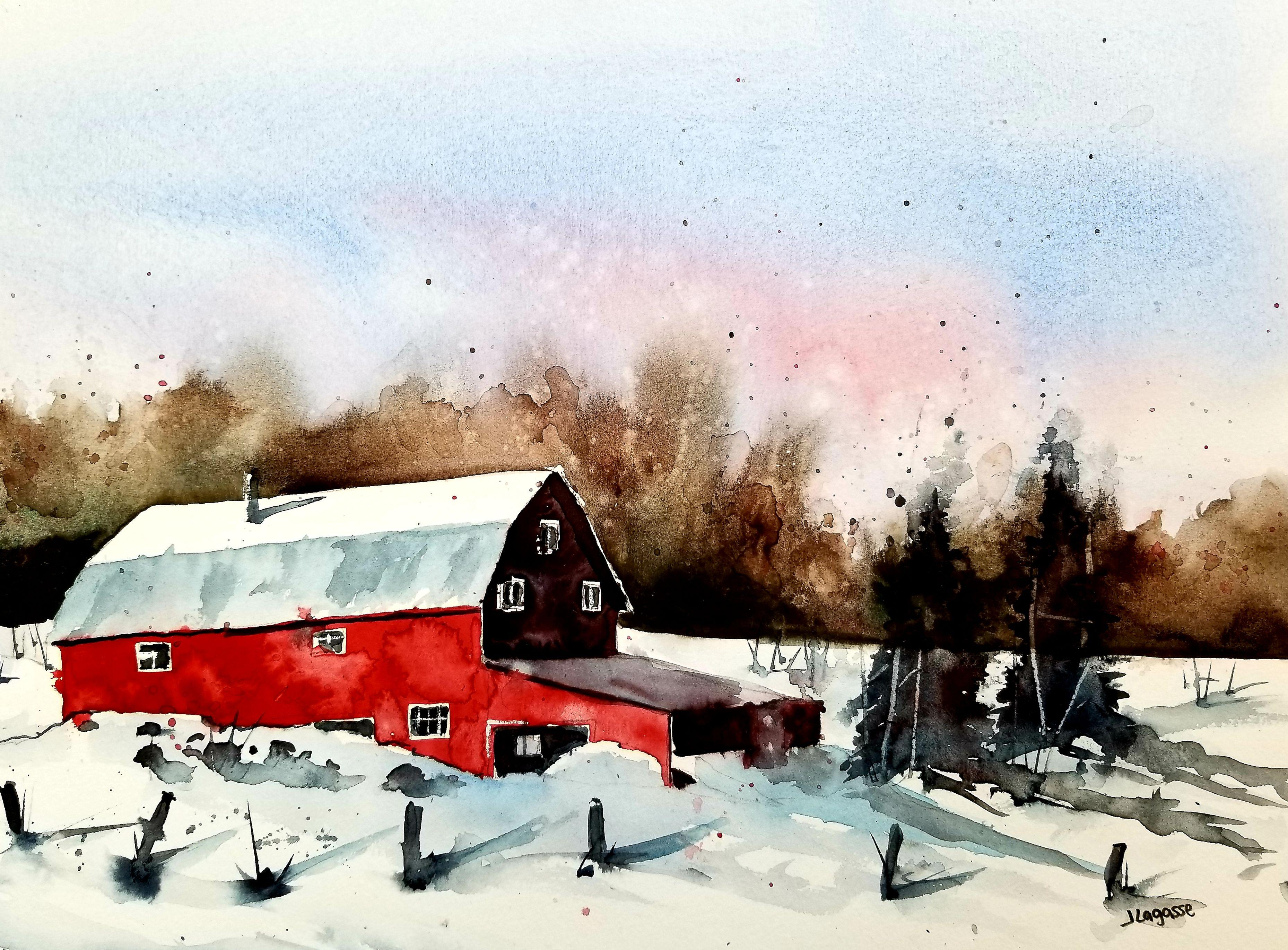 Red Barn, Painting, Watercolor on Watercolor Paper