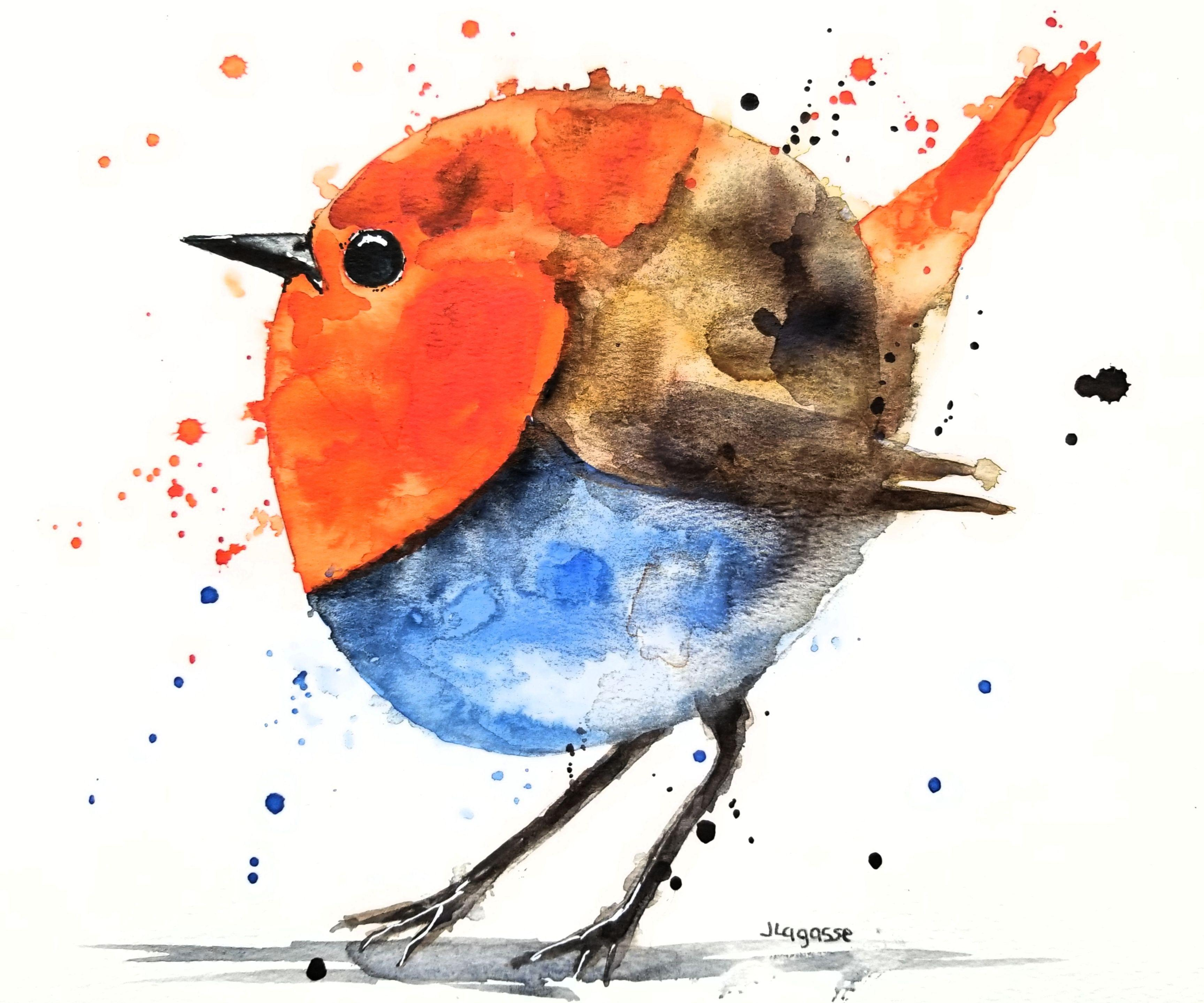 Penny the Robin, Painting, Watercolor on Watercolor Paper