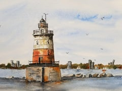 Lighthouse, Painting, Watercolor on Watercolor Paper