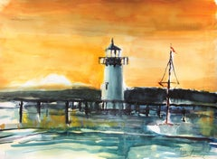 Edgartown Sunset, Painting, Watercolor on Watercolor Paper