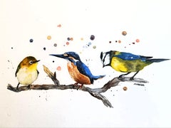 Three Birds, Painting, Watercolor on Watercolor Paper
