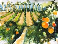 Riverside Orange Groves, Painting, Watercolor on Watercolor Paper