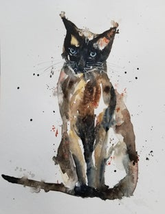 Sal the Siamese Cat, Painting, Watercolor on Watercolor Paper