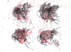 Four RED magic fish, Drawing, Pen & Ink on Paper