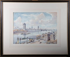 Emerson Harold Groom A.R.E. - Mid 20th Century Watercolour, Houses Of Parliament