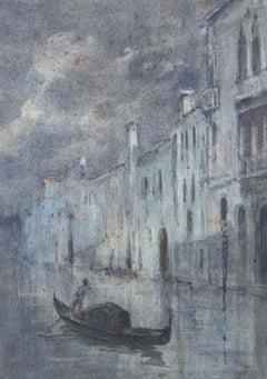 G.G - Framed Early 20th Century Watercolour, Venice Evening Scene