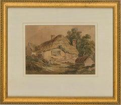 David Cox Snr. OWS (1783-1859) - Watercolour, Thatched Cottage