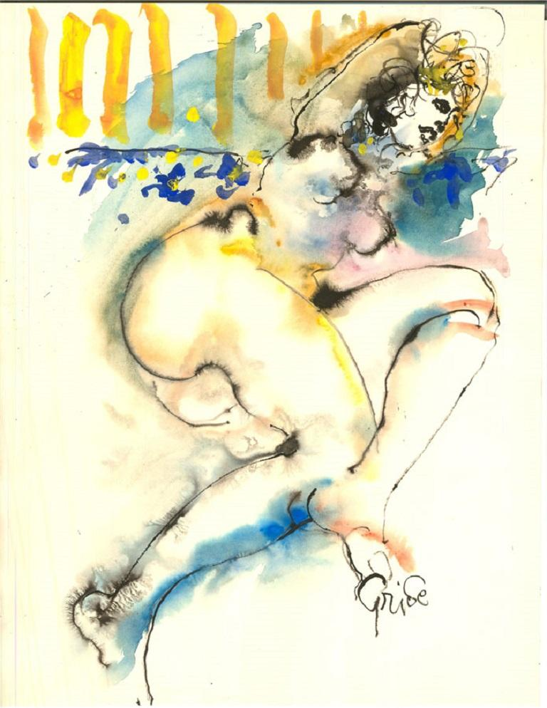 Hendrik Grise (1917-1982) - 20th Century Watercolour, Nude Figure - Beige Portrait by Hendrik Grise