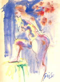 Hendrik Grise (1917-1982) - 20th Century Watercolour, Vibrant Female Figure
