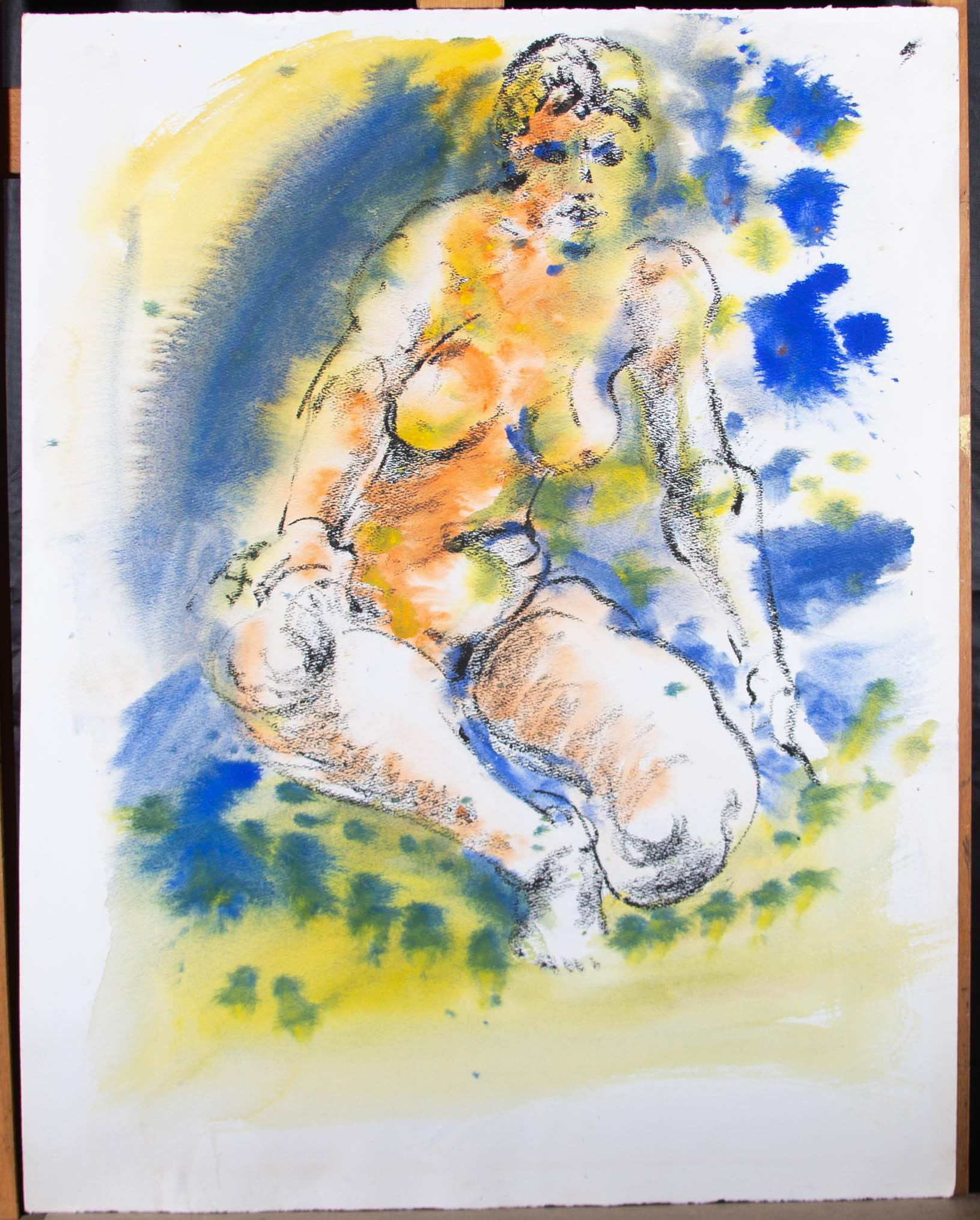Hendrik Grise (1917-1982) - 20th Century Watercolour, Seated Nude Figure