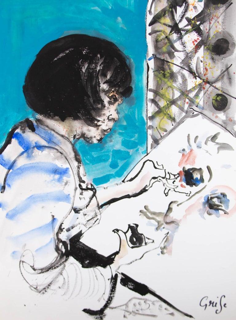 Hendrik Grise (1917-1982) - 20th Century Watercolour, Girl Painting - Gray Portrait by Hendrik Grise
