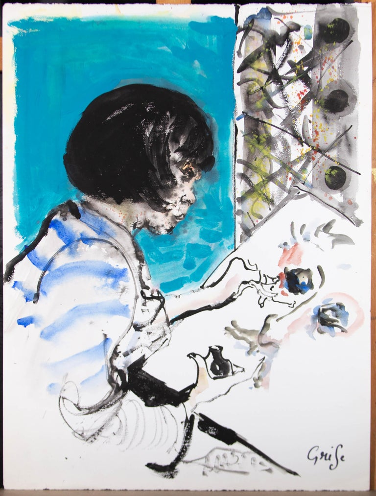 Hendrik Grise (1917-1982) - 20th Century Watercolour, Girl Painting For Sale 1