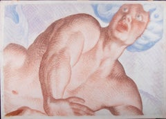 Giorgio Matteo Aicardi (1891-1985) - Watercolour Fresco Cartoon, Recoiling Man