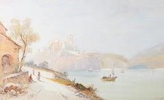Edwin St John (1878-1961) - Watercolour, Old Castle on the Adriatic