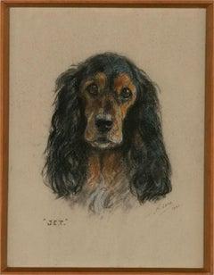Mabel Gear (1898-1987) - 1960 Pastel, Jet The Spaniel