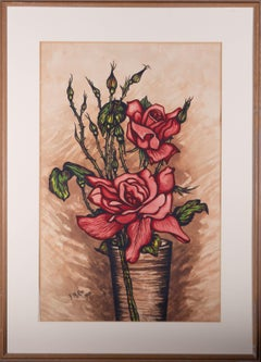 F.N. Cox - 1928 Watercolour, Red Roses in Vase