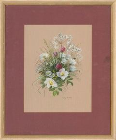 Mary Brown - 20th Century Gouache, Dainty Flowers