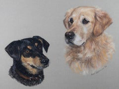 Mary Browning - 1983 Pastel, Portrait of Two Dogs