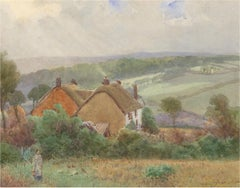 William Edward Croxford (1852-1926) - Fine 1920 Watercolour, Thatched Cottages