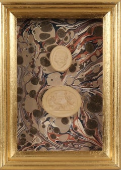 Paoletti Impronte, 'Mussei Diversi' Framed Plaster intaglio Seal, Rome c1800.