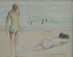 Two Figures by the Sea, Work on paper by Georges Manzana Pissarro