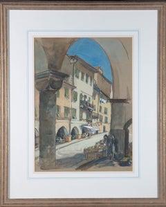 Mid 20th Century Gouache - Italian Street Scene