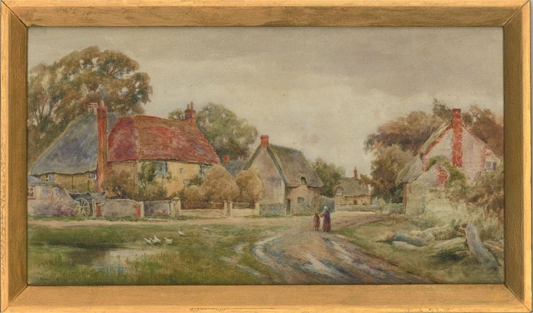 A wonderful watercolour depiction of 19th Century rural life. The scene shows a mother and daughter returning to their hamlet down a dirt path, a small pond with geese to the left and thatched cottages curve off down the road to the right. The