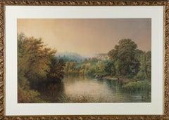 J.A. Free - 1888 Gouache, Pastoral River Scene