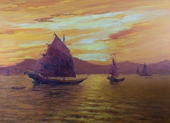F. C. Fung - Contemporary Watercolour, Chinese Junk Boats At Sunset