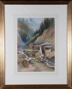 Mid 20th Century Watercolour - Mountain Watermill