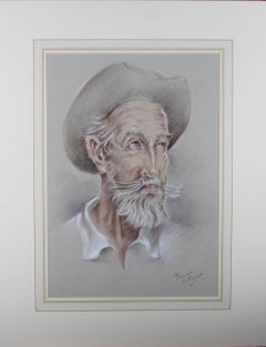 Franco Matania (1922-2006) - 20th Century Chalk Drawing, Old Man in Hat