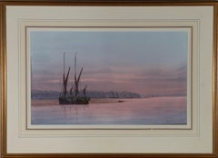 Anthony Osler - Signed Mid 20th Century Watercolour, Sunset and Barges