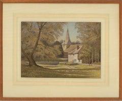 Eric E. Cox - Signed Mid 20th Century Pastel, Bury Church, Sussex