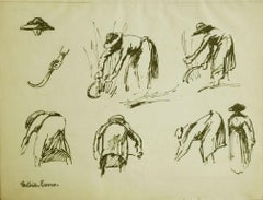 Etude d'une Maraîchère coupant l'herbe by Paulémile Pissarro - work on paper
