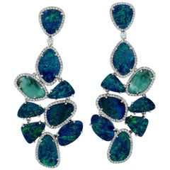 22.57 Carat Opal Emerald Diamond 18 Karat Gold Earrings