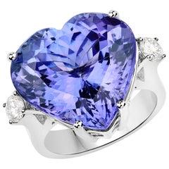 22.58 Carat Tanzanite and Diamond 18 Karat White Gold Three-Stone Ring