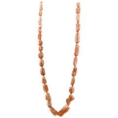 225.8 g Orange/Pink Corals Multi-Strand or Long Necklace