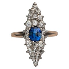 2.25ctw Blue Sapphire and Old Mine Cut Diamond Pave Gold & Platinum Navette Ring