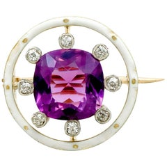 2.26 Carat Amethyst and Diamond Yellow Gold Brooch