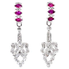 2.26 Carat Burma Ruby and Diamond Chandelier Drop Earrings. Wear Two ways.
